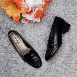 Soft Style Slip On Black Heels with Buckle.